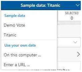 Dataset Import mode in SandDance online visualization Tool