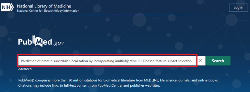 Input Research Paper in PubMed Window for searching