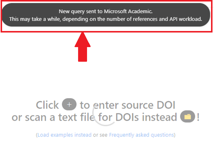 New query sent to Microsoft Academic in visual tool