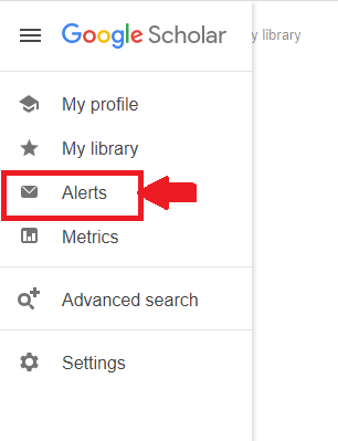 Google Scholar Sub Window for setting up search alert