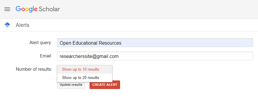 Search Results using Search alert in Google Scholar