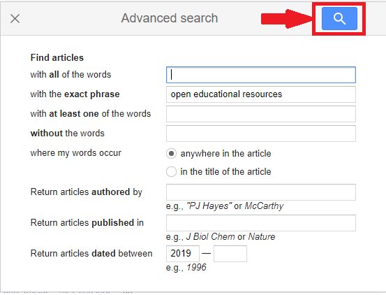 Advanced Search Fields in Google Scholar Academic Search Engine