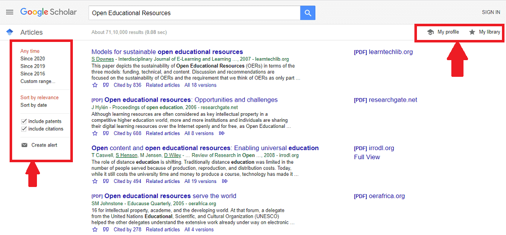 Search Results using the free academic search engine