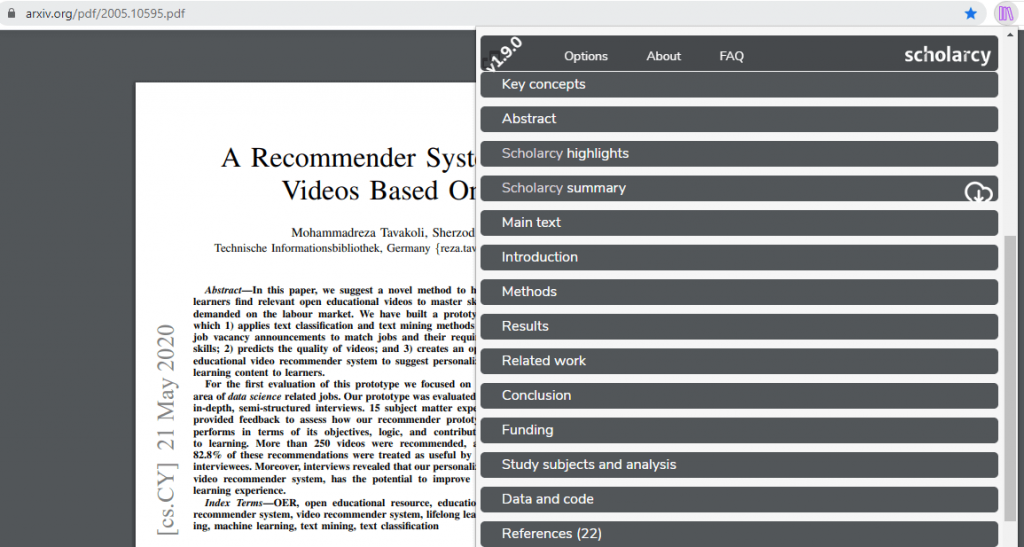 Summarize Research Article based on Open Educational Resources in Scholarcy