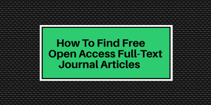 Finding Free Open Access journal articles