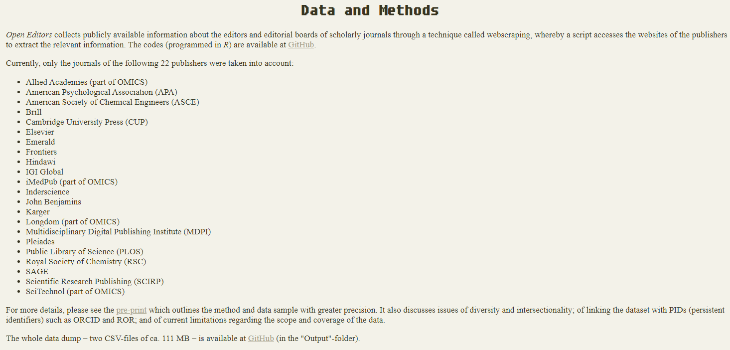 Data and Metod Open Editors
