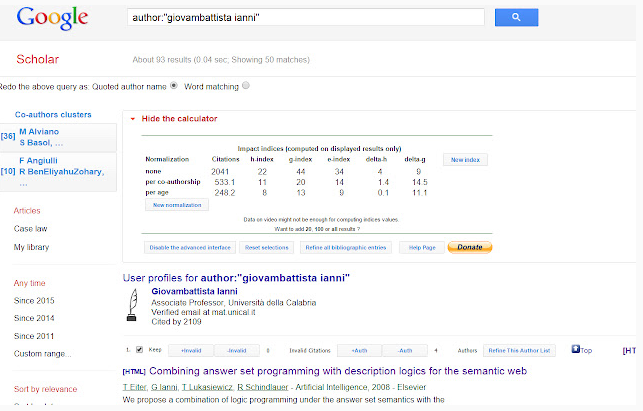 Scholar H-Index Calculator for Google Chrome