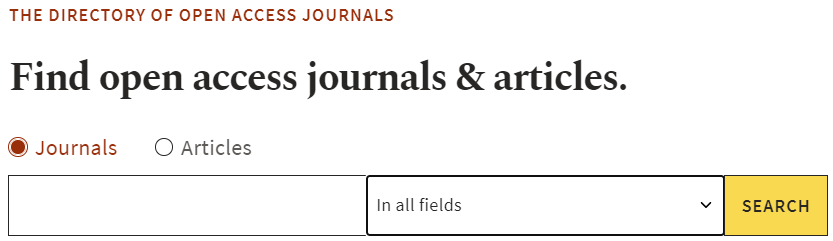 The Directory of Open Access Journal for finding open access journal